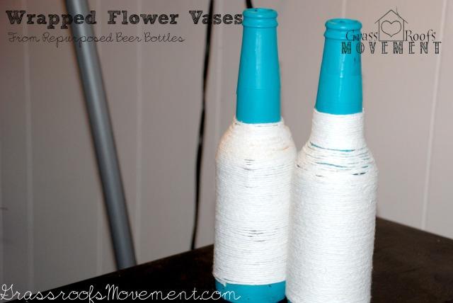 Repurposed Beer Bottle Vases